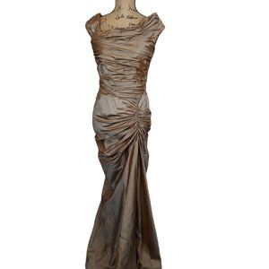 Tadashi Shoji Taupe Silk Gown